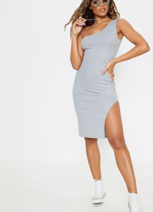 Ликвидация товара 🔥   серое миди платье в рубчик с разрезом