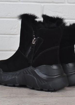 Ботинки женские зимние замшевые на платформе jazz опушка кроли...