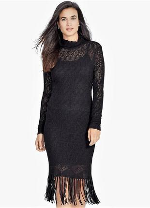 Ralph lauren платье нарядное  ажурное миди 100% кашемир воротн...