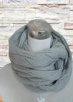 🦄🦄100% акрил теплый шарф снуд женский серый 🦄🦄🦄