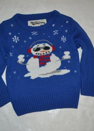Детский новогодний джемпер со снеговиком merry christmas (мерр...