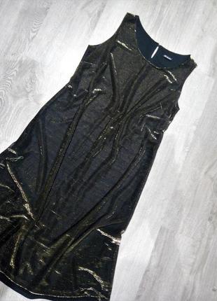 Шикарнейшее👑золотое блестящие платье миди /люрекс/глитер/хамел...