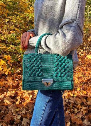 Вязаная плетеная сумочка, сумка