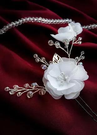 Шпилька с цветами в прическу , украшение для волос