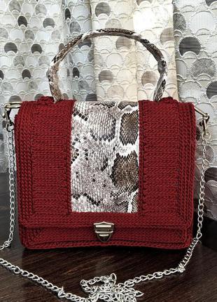Плетеная вязаная сумка, сумочка, подарок на новый год