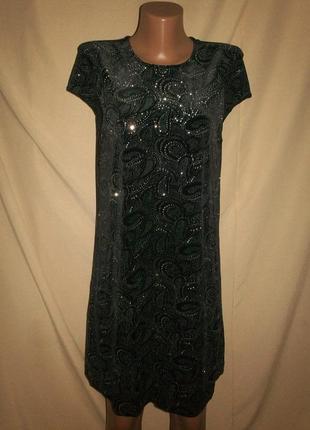 Велюровое платье с блестками river island р-р12,