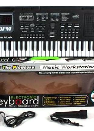 Детский синтезатор с микрофоном от сети MQ-010FM радио