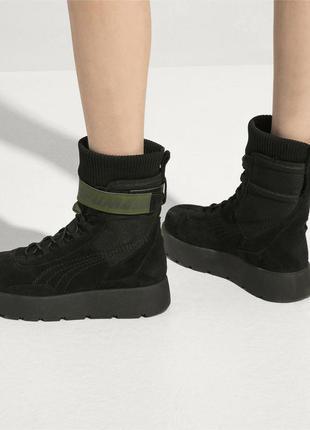 Puma x fenty scuba boot black  женские ботинки из замши тренд ...