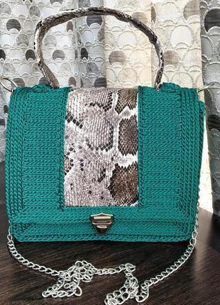 Плетеная вязаная сумка, сумочка