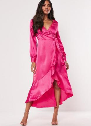 Сатиновое платье макси на запах с оборкой missguided, рукава-б...