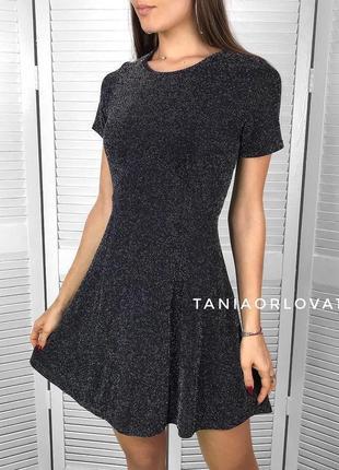 Красивое блестящее вечернее😱 платье-люрекс-глитер(серебро)😍