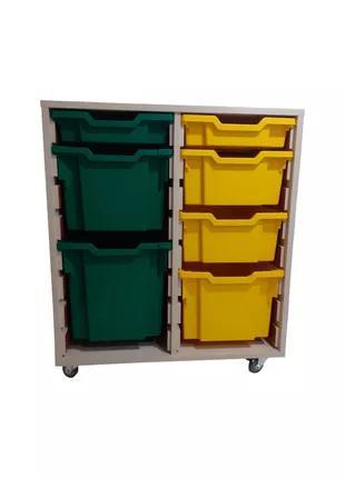 Органайзер с лотками Gratnells желтыми и зелеными, Дуб Шамони