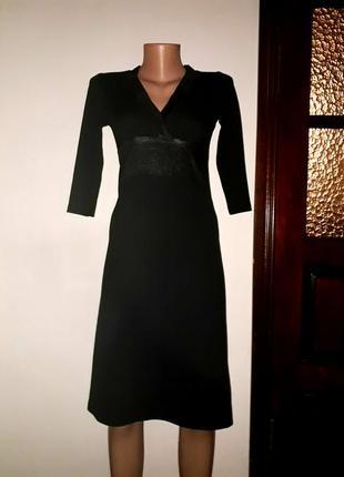 Трикотажное миди платье с вставками под кожу, р. s