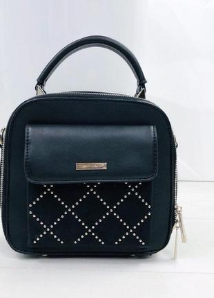 Чёрная сумка david jones, стильная сумка на плечо.