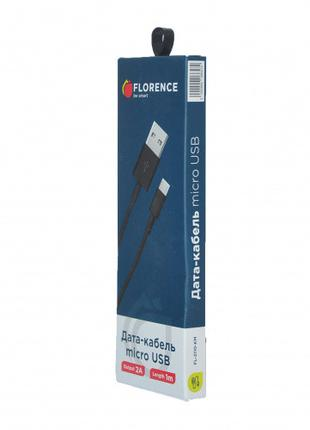 Дата кабель FLORENCE microUSB 1m 2A Black (FL-2110-KM)