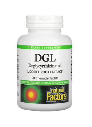 DGL, Корень солодки, Natural Factors, 90 жевательных таблеток