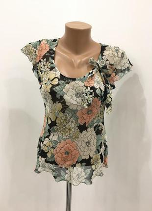 Шифоновая блуза в цветы с бантиком
