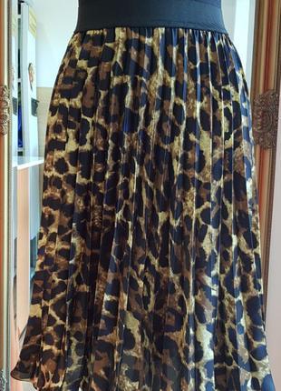 Юбка солье с леопардовым принтом