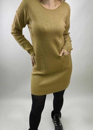 Акция! шикарная футляр платье-туника с люрексом и карманами, л...