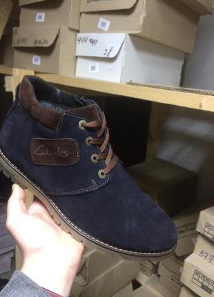 Ботинки мужские yuves 51 синие (замша, зима)