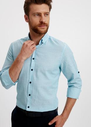 Голубая мужская рубашка lc waikiki / лс вайкики в синюю точку ...