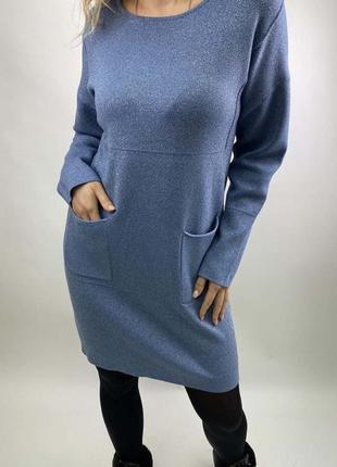 Акция! стильное платье туника с люрексом, л-хл,польша