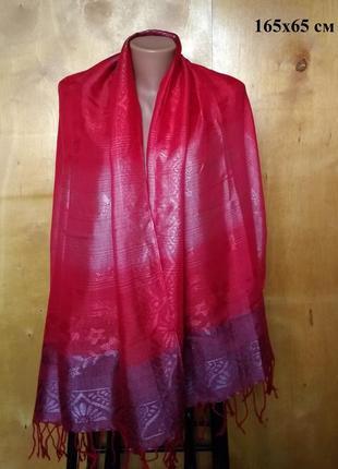165х65 см роскошный яркий красный палантин шарф шаль с отблиск...
