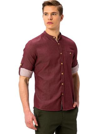 Бордовая мужская рубашка lc waikiki / лс вайкики с воротником-...