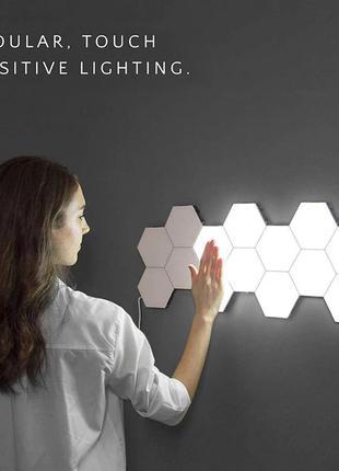 Настенный сенсорный LED светильник Соты на магнитах 10шт.