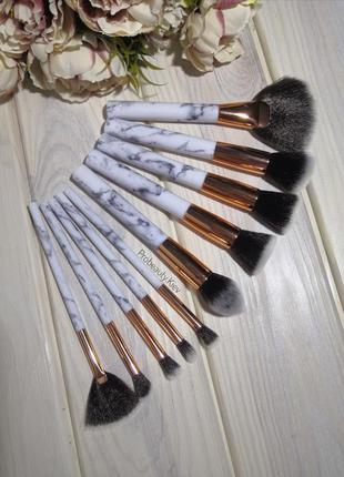 10 шт мраморные кисти для макияжа набор мрамор marble/grey pro...