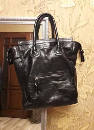 Большая вместительная сумка из натуральной кожи 👜