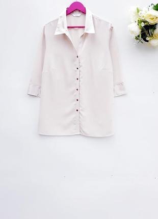 Бежевая рубашка блуза большой размер батал
