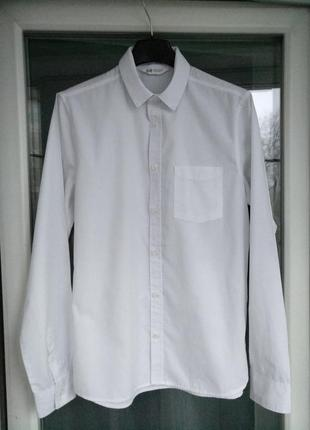 "Рубашка ""h&m"" р.164 мальчику-подростку 13-14лет белая школьная"