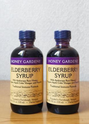 Бузина, мед, прополис и эхинацея, сироп для детей, Honey Gardens