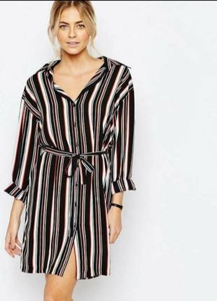 Платье рубашка в полоску с поясом