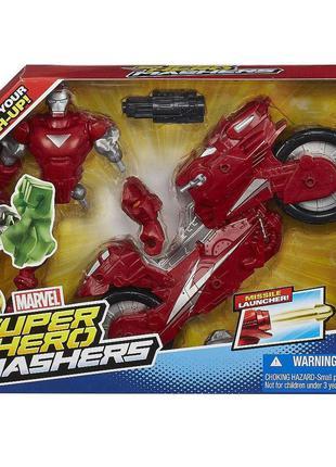 Разборная фигурка Железный человек с мотоциклом, Iron Man Hot-...