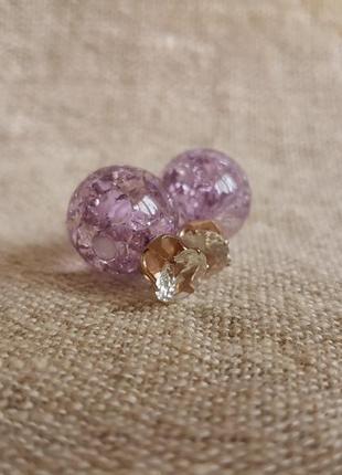 Серьги с камнем сиреневые фиолетовые
