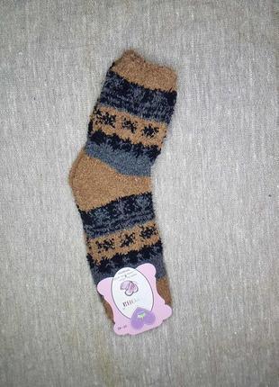 Носки женские махровые мягкие травка коричневые