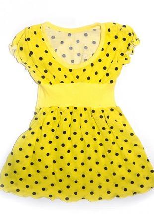 Детское платье в горошек легкое тонкое в садик желтое