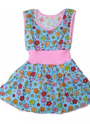 Детское платье легкое тонкое в садик голубое с цветочками