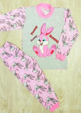 Детская пижама с кроликом розовая с начесом banny на 3-4 года