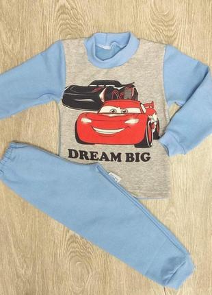 Детская пижама с начесом для мальчиков тачки с начесом на 2-3 ...