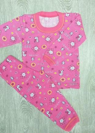Детская пижама для девочки с мишками с начесом теплая на 6-7 лет