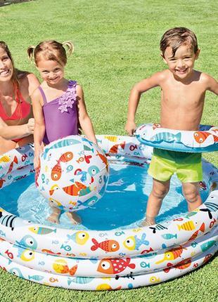 """Детский надувной бассейн """"Аквариум"""" 59469 NP с мячом и кругом ..."""