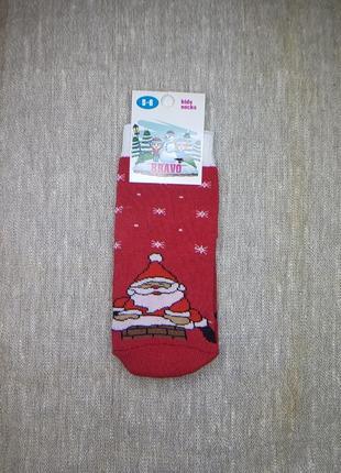 Детские носки махровые новогодние с дедом морозом красные на 3...