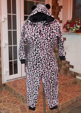(7- 8 лет) флисовый теплый толстый комбинезон пижама