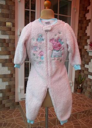 ( 2-3 года ) свинка пепа   флисовый толстый комбинезон пижама ...