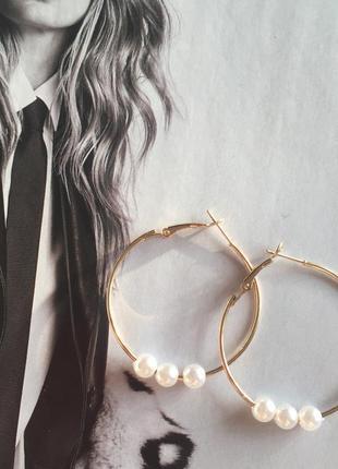 Сережки кольца с жемчугом