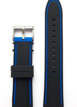 Ремешок каучуковый 22 мм для часов черный с синим
