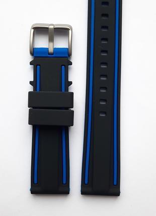 Ремешок каучуковый 20 мм для часов черный с синим